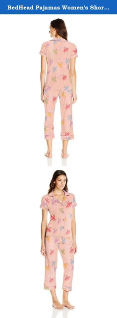 BedHead Pajamas Women's Short Sleeve Cropped Knit Pant Set, Prima Ballerina, X-Large. BedHead Pajamas women's short sleeve cropped pant pajama set made in USA.