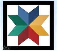 Give the barn star feel with the bold color of this star barn quilt. It will make a striking improvement to your home, garage, barn, fence or Barn Quilt Designs, Barn Quilt Patterns, Star Patterns, Quilting Designs, Craft Patterns, Block Painting, Painting On Wood, Painted Barn Quilts, Painted Wood