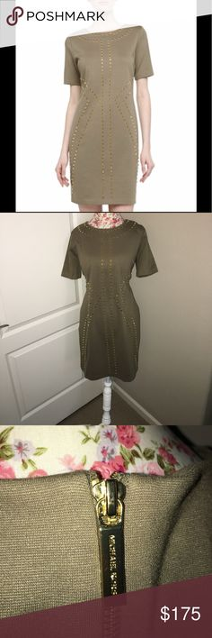 Michael Kors Safari Studded Dress This amazing dress is new with tags. The safari green would look great with brown ankle boots; which I also carry 😊 Michael Kors Dresses
