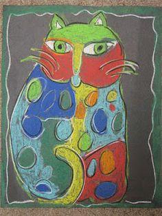 Laurel Burch Cats - chalk pastel on black from Do Art! Imagine, Explore, Create