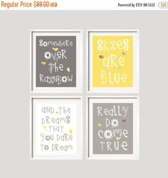 ON SALE boy Wall Art, nursery decor Somewhere Over The Rainbow Yellow and Grey Girl or Boy Nursery Art Prints 11x14 inches by YassisPlace