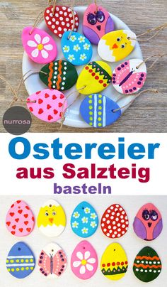 Ostereier aus Salzteig basteln – DIY , Make Easter eggs out of salt dough - DIY - crafting tips for children - Easter - Easter decorations. Crafts To Sell, Home Crafts, Diy And Crafts, Nature Crafts, Easter Crafts For Kids, Diy For Kids, Easter Decor, Bunny Crafts, Easter Activities