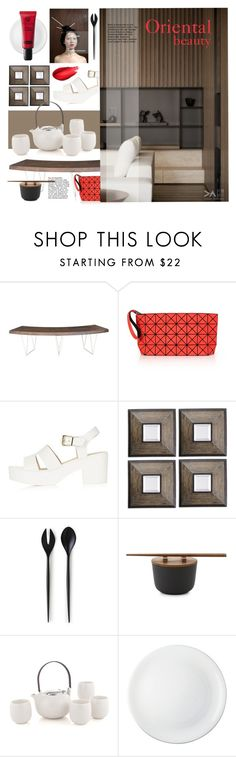 """""""The Perfect Match: dark wood, white and a touch of red"""" by laste-co ❤ liked on Polyvore featuring interior, interiors, interior design, home, home decor, interior decorating, Moe's Home Collection, Bao Bao by Issey Miyake, Topshop and Uttermost"""