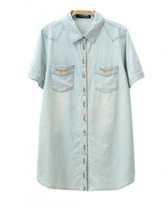 Washed Denim Blouse with Floral Embroidery - Blouses - Clothing