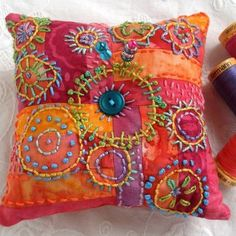 Color Me Happy Pincushion, hand embroidered, patchwork - I'm thinking larger scale and every yarn and make pillows! Wool Applique, Embroidery Applique, Beaded Embroidery, Embroidery Stitches, Embroidery Patterns, Fabric Art, Fabric Crafts, Sewing Crafts, Sewing Projects