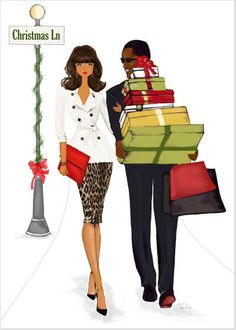 Christmas Lane Greeting Card - This beautiful illustration of an African American or multicultural couple getting their holiday shopping on is a charming way to spread holiday cheer. Boxed set also available. Family Christmas Cards, Black Christmas, Vintage Christmas Cards, Christmas Images, Christmas Art, Christmas Greetings, Christmas Girls, Soulful Christmas, Vintage Cards