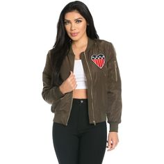 Heart of America Patched Bomber Jacket in Olive ($35) ❤ liked on Polyvore featuring outerwear, jackets, patch jacket, bomber jacket, bomber style jacket, military green bomber jacket and pocket jacket