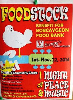 Food stock in Dunsford #Ontario supporting the #foodbank Saturday night!  Get your tickets now!