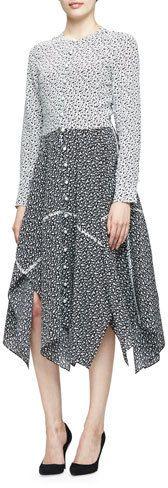 Altuzarra Priscilla Long-Sleeve Foulard-Print Dress, Natural White/Black