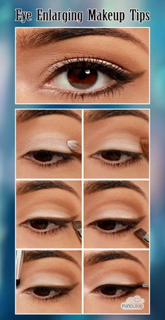 Eye make up maybe? - How do I still not know so much about make up? Right, cause I dont care that much How to apply makeup correctly, info here: www. Beauty Make-up, Beauty Hacks, Beauty Tips, Eye Enlarging Makeup, Applying Makeup, Makeup Tutorial For Beginners, Simple Makeup Tutorial, Natural Eyebrow Tutorial, School Makeup Tutorial
