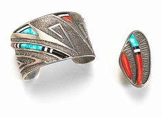 A Hopi/Mission bracelet and ring, Preston Monongye