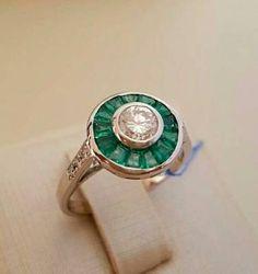 anel brilhante esmeraldas ouro branco - jóias sem marca