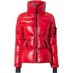 Candy Red Freestyle Puffer Jacket ($295) ❤ liked on Polyvore featuring outerwear, jackets, red, puffy jacket, thumb hole jacket, red puffer jacket, standing collar jacket and sam jackets