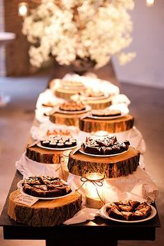Rustic dessert bar, with tree slices
