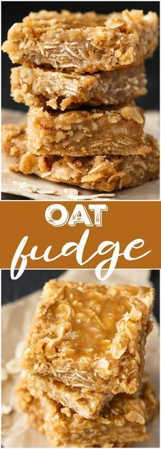 Fudge Oat Fudge - Add a little texture to your basic brown sugar fudge recipe with the addition of nuts, coconut and oats!Oat Fudge - Add a little texture to your basic brown sugar fudge recipe with the addition of nuts, coconut and oats! Fudge Recipes, Candy Recipes, Sweet Recipes, Baking Recipes, Cookie Recipes, Easy Desserts, Delicious Desserts, Yummy Food, Desserts With Oats