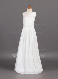 A-Line/Princess One-Shoulder Sweep Train Chiffon Junior Bridesmaid Dress With Ruffle Beading (009001768)