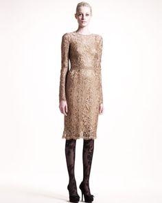 Long-Sleeve Lace Dress by Dolce & Gabbana at Bergdorf Goodman.
