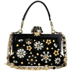 Dolce & Gabbana Vanda Small Jeweled Top-Handle Evening Bag (€4.150) ❤ liked on Polyvore featuring bags, handbags, black, chain strap purse, chain handle handbags, top handle bags, jewel purse and evening bags