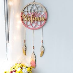 Personalized wooden dream catcher - Personalized gift-Nursery wall decor-Wooden name sign -Name plag Wooden Name Signs, Carved Wood Signs, Custom Wooden Signs, Wooden Names, Dream Catcher Nursery, Dream Catcher Mobile, Nursery Wall Decor, Baby Decor, Dream Catcher White