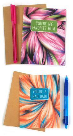 I'm particularly pleased with my Father's Day and Mother's Day cards. Featuring abstract ballpoint pen backdrops by Jennifer Johansson.
