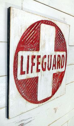 LIFEGUARD Sign 20 Square  Carved in 5/8 Plywood by AmericanaSigns