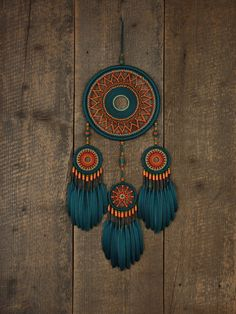 Your place to buy and sell all things handmade - Dream catcher / Turquoise and orange dream от MyHappyDreams - Diy Tumblr, Dreamcatchers, Feather Wall Decor, Dream Catcher Decor, Beautiful Dream Catchers, Diy And Crafts, Arts And Crafts, String Art, Wooden Beads