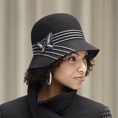 Butterfly Cloche Felt Hat. Nice lines on this cloche. #millinery #judithm #hats