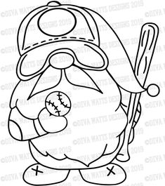SVG Baseball Gnome Cutting File Customize with your Team image 3 Gnome Paint, Silhouette Png, Scandinavian Gnomes, Wood Burning Patterns, Coloring Pages, Coloring Sheets, Make And Sell, Painted Rocks, Cutting Files
