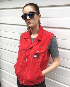 Women's vintage 80s 90s Tommy Hilfiger gilet hilfiger jacket red waistcoat depop Sportswear