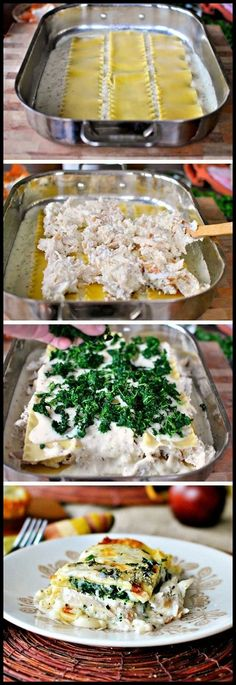 White Cheese Chicken Lasagna. This is a very easy and delicious change-up from regular beef lasagna!