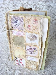 Handmade Mixed Media Shabby Art Journal Nature Collage Book Paper Fabric Lace Altered Art Journal Junk Journal Diary Nature Inspired by ShabbySoul on Etsy