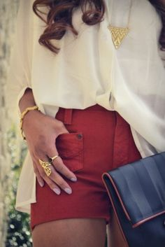 Evening chic red shorts