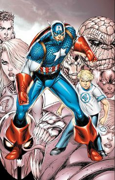 Captain America and Franklin Richards by Rob Liefeld