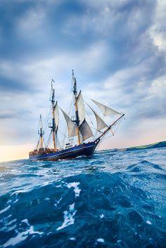 Sail Away Nautical and Maritime - (via / Old Tall Ship sailing off the coast. Yacht Design, Pirate Life, Sail Away, Tall Ships, Water Crafts, Cornwall, Sailing Ships, Lighthouse, Nautical