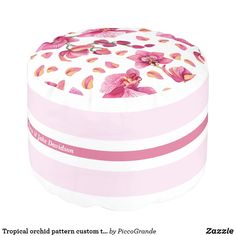 Tropical orchid pattern custom text pink white pou pouf Large Furniture, Cool Furniture, Trim Color, White Aesthetic, Cool Rooms, Home Deco, Pink White, Orchids, Tropical