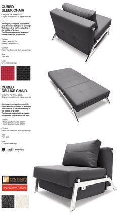 Cubed Sleek Chair Bed in Black Lavish textile - by Innovation - Twin Size