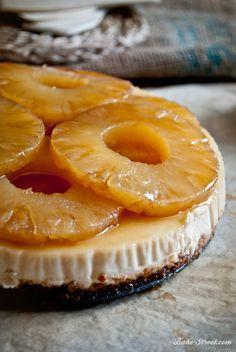 Pineapple & caramel maple syrup cheesecake - Cheesecake con caramelo de jarabe de Arce y piña