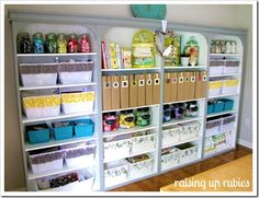 Amazing craft room of Raising Up Rubies. To see more great pics click here >>> http://raisinguprubies.blogspot.com/2012/05/cute-place-to-make-stuff.html