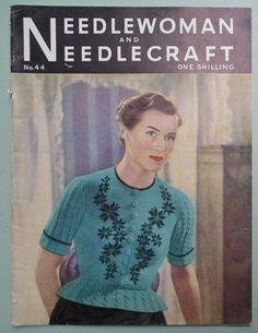Vintage 1940s 1950s Knitting Crochet Needlework Magazine - Needlewoman and Needlecraft Oct 1950 -  40s 50s original patterns womens cardigan