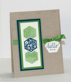 "Stamps: Six-Sided Sampler Paper: Crumb Cake, Midnight Muse, Gumball Green Ink: Midnight Muse, Gumball Green Accessories: Hexagon Punch, Honeycomb EF, 3/8"" Stitched Satin Ribbon, Basic Rhinestone Jewels"