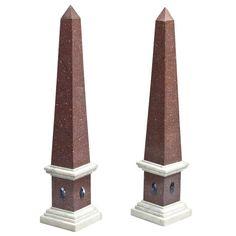 Pair of Large Obelisks | From a unique collection of antique and modern obelisks at https://www.1stdibs.com/furniture/more-furniture-collectibles/obelisks/