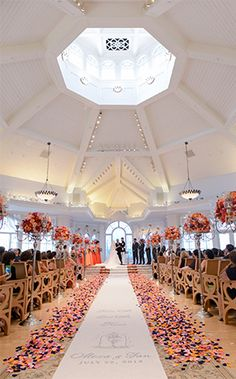 Bright and colorful ceremony decor at Disney's Wedding Pavilion
