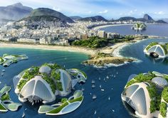 Reimagining Cities in the Face of Climate Change and Migration, Belgian architect Vincent Callebaut proposes recycling ocean trash as building materials for his futuristic floating cities. Sustainable City, Sustainable Architecture, Futuristic City, Futuristic Design, Futuristic Technology, Futuristic Architecture, Concept Architecture, Vincent Callebaut, International Waters