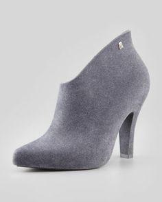 Melissa Shoes Drama Flocked Waterproof Bootie, Gray - Neiman Marcus