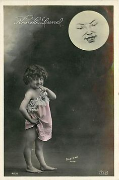 TINTED PHOTO-FACE IN MOON-LITTLE GIRL