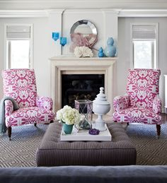 Quadrille, China Seas, Alan Campbell, Ikat chairs, pink chairs, flanking fireplace