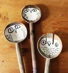 owl spoons - cool example for painting on unexpected surface