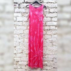 Boho Dress Tie Dye Maxi Dress Peach Long Dress by AbiDashery