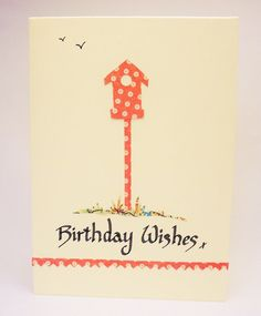 Bird box calligraphy card by QuillPaperScissors on Etsy