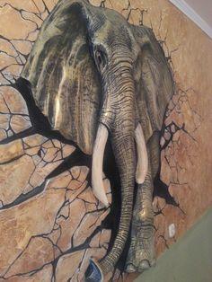 Аэрография, настенная роспись, барельеф. Африканский слон.  от Студия дизайна V&P